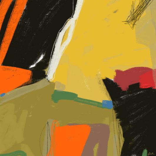 Bold abstract painting warm hues and black