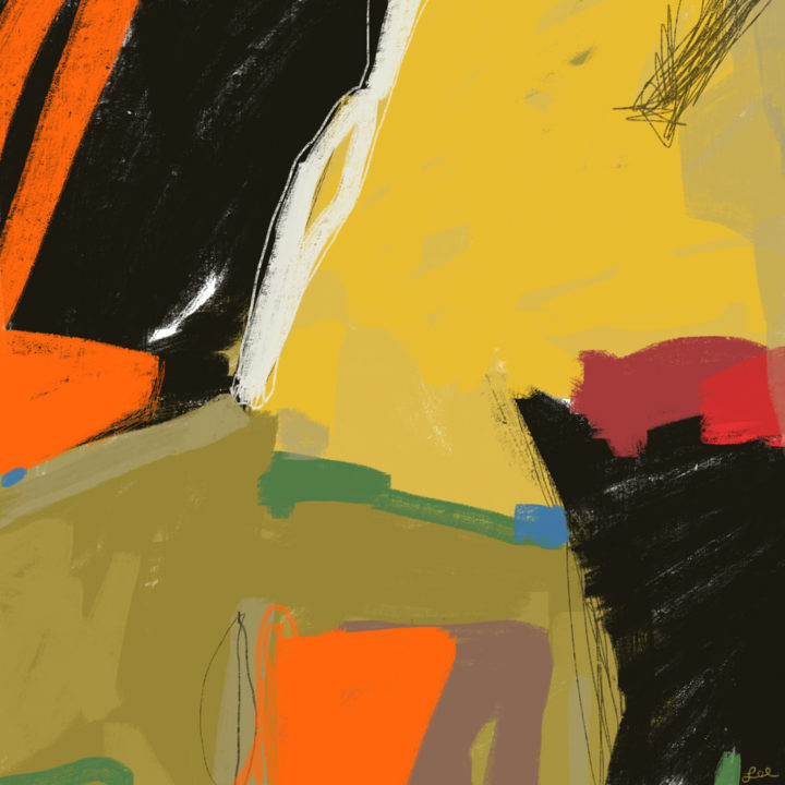 Bold abstract painting warm hues and black