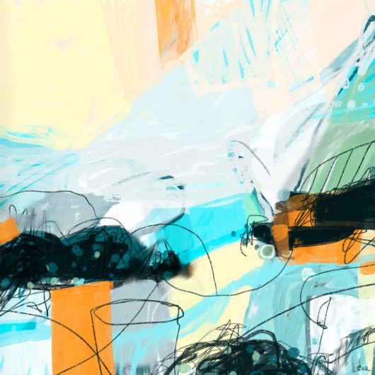 Abstract painting with active black mark making, evoking bees in flight, in yellow, orange, and aqua