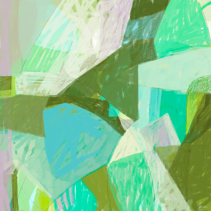 Green and blue geometric abstract digital painting by Lel Newman
