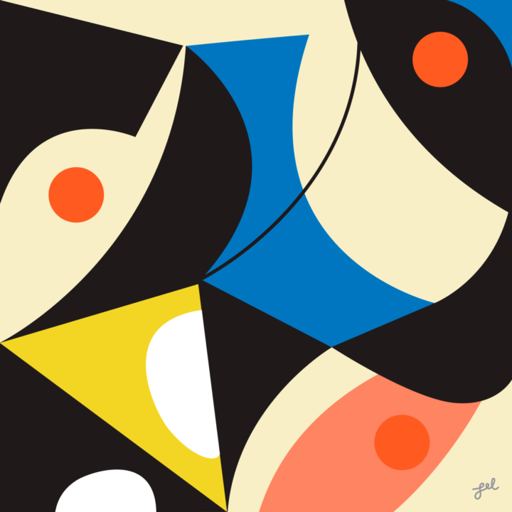 Strong abstract art, black and primary colors by Leslie Newman
