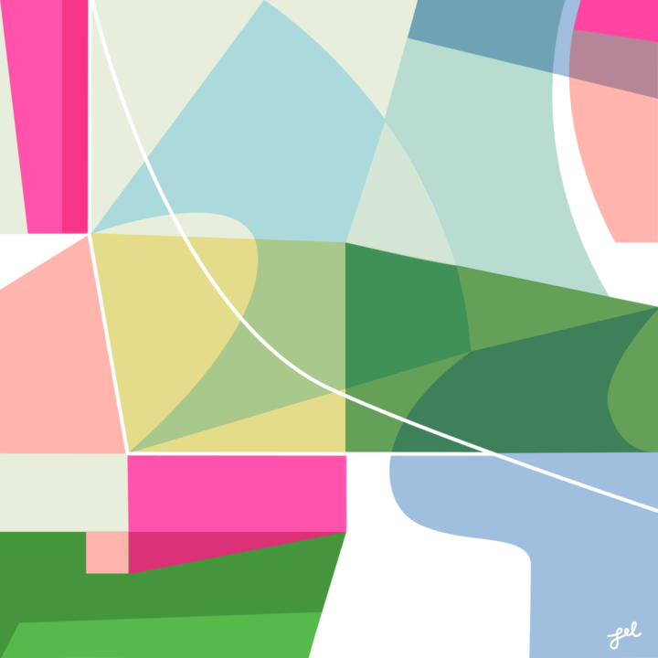 Abstract geometric art in pastel colors and bright pink