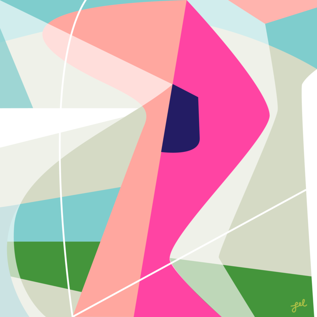 Bright pink and soft color midcentury modern style art