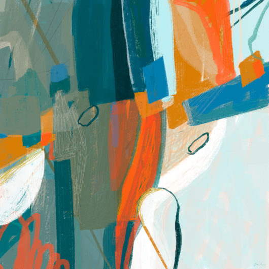 Abstract painting with blue and orange by Lel Newman