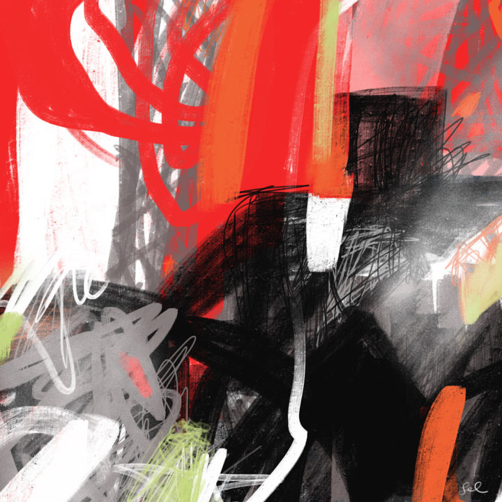 Red and black bold expressive abstract painting