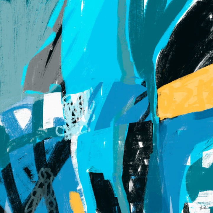 Modern abstract digital painting blue, black and yellow by Lel Newman