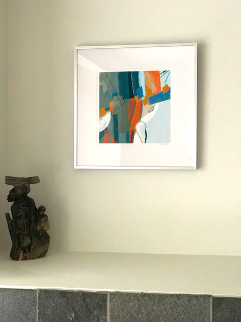 Abstract digital painting framed hanging in buyer's home
