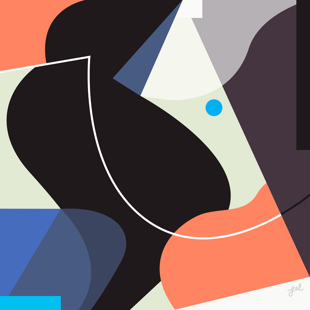 Modern black, peach, and gray geometric shape abstract artwork by Lel Newman