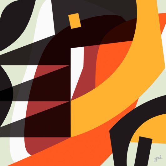Tribal bold, black, orange and red geometric shaped abstract artwork by Lel Newman