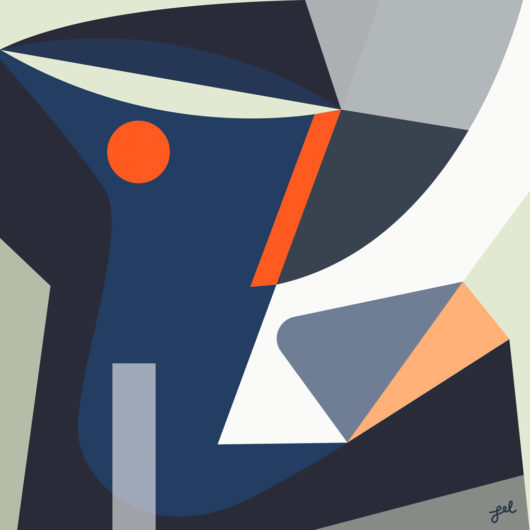 Blue, gray, red-orange geometric shaped abstract artwork by Lel Newman