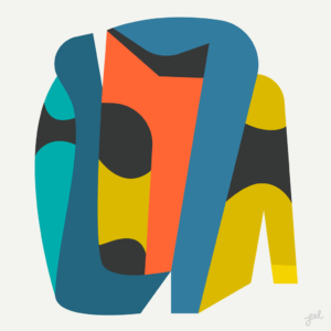 Bold blue orange and gold abstract, evoking Star Trek Landing Party by Lel Newman