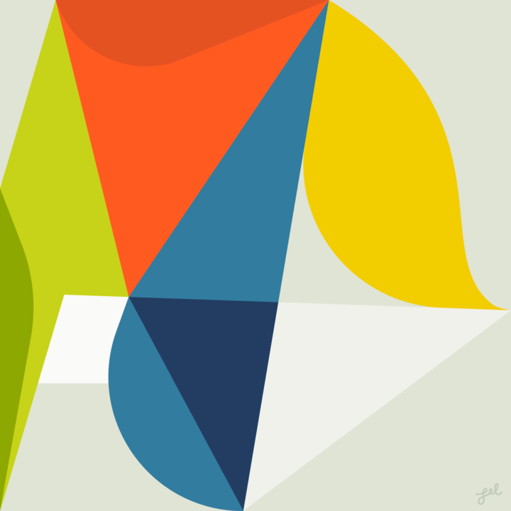 Geometric modernist abstract in primary colors
