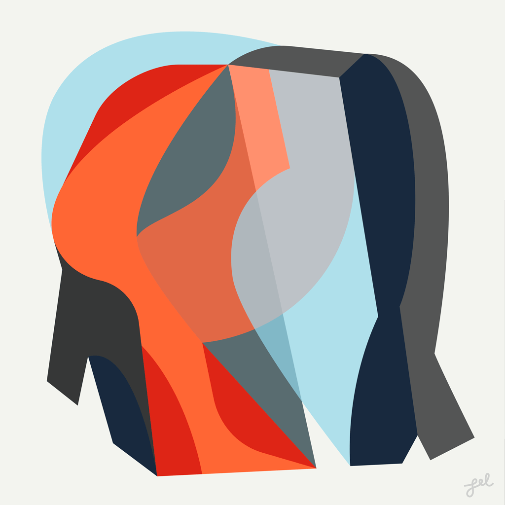 Red, blue and gray abstract flat shape artwork