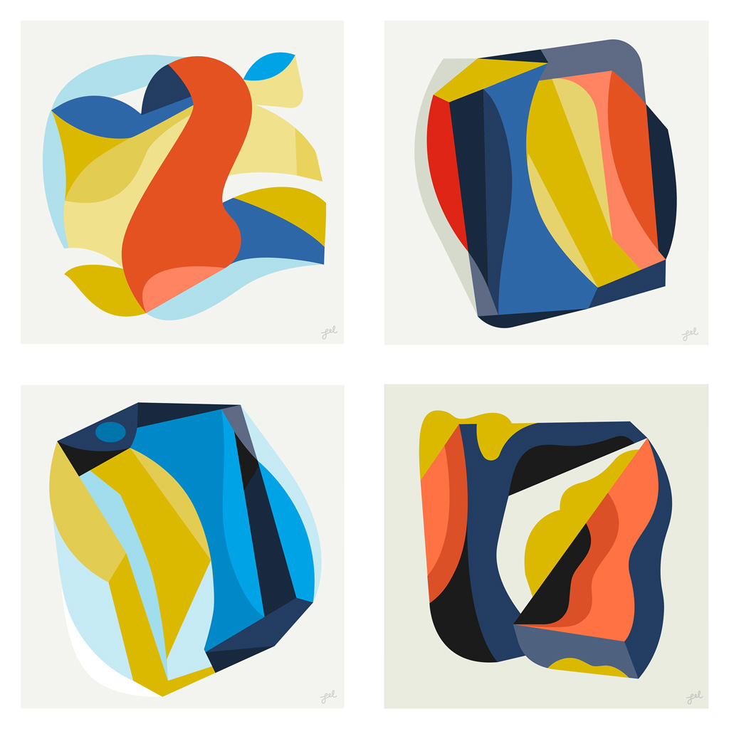 4 colorful compositions by Leslie (Lel) Newman