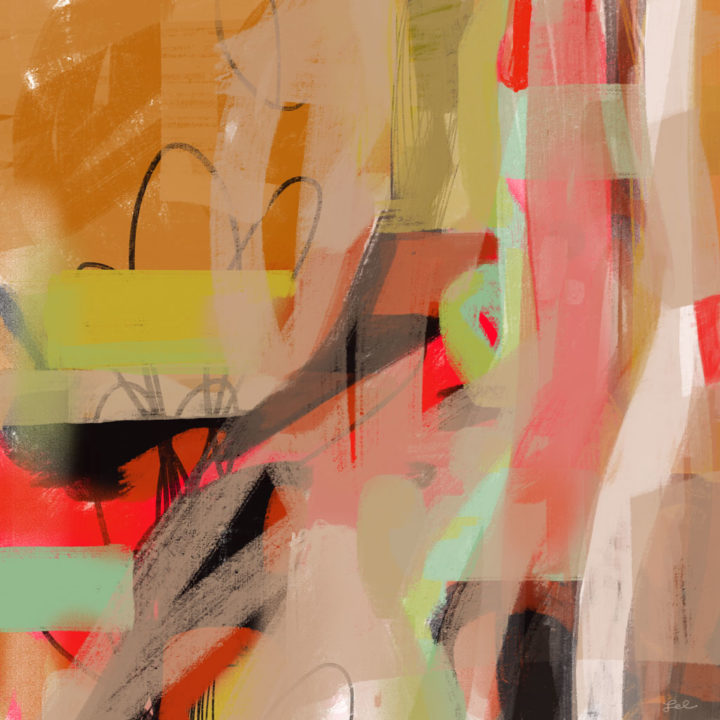 Digital abstract expressionist painting in Warm colors