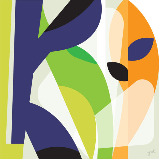 Playful abstract flat artwork with leaf motif, violet, orange and green