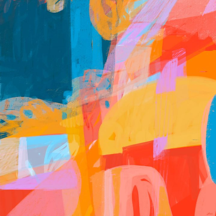 Bright summery abstract painting with primary colors by Leslie Newman