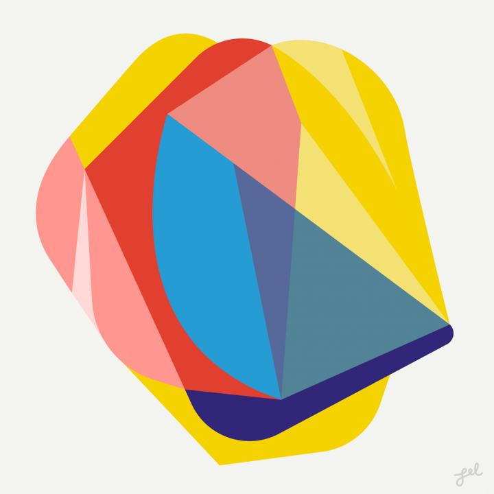 Geometric art in primary colors by Lel Newman