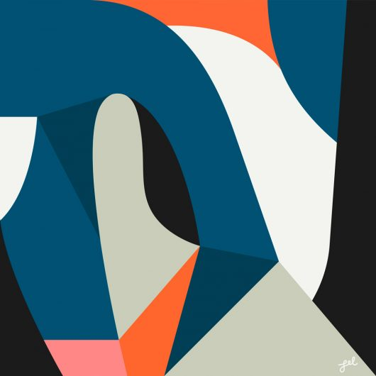 Abstract flat color artwork in blue, gray and red