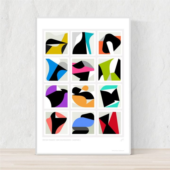 Framed colorful poster