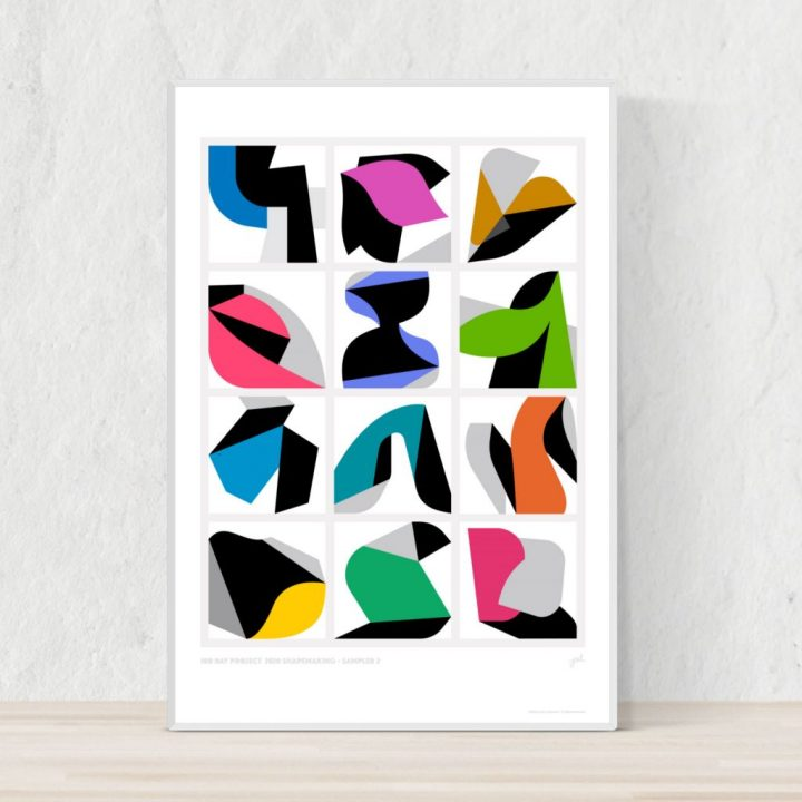 Bold and modern grid of graphic compositions framed