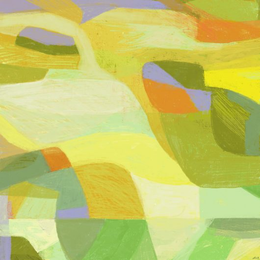 Abstracted landscape acid green, yellow, orange and a bit of violet