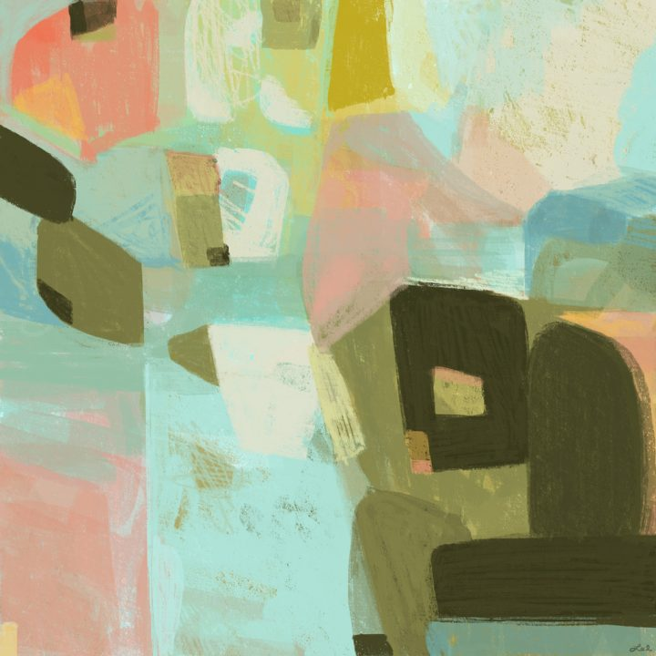 Expressive abstract painting in earth colors and soft aqua and salmon pastels